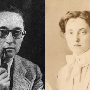 Left: A picture of Alan Hard smoking a pipe, appearing typically masculine. Right: A photo of Alan Hart appearing typically feminine.